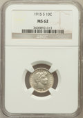 Barber Dimes: , 1915-S 10C MS62 NGC. NGC Census: (12/82). PCGS Population (20/99).Mintage: 960,000. Numismedia Wsl. Price for problem free...