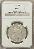 Bust Half Dollars: , 1833 50C VF30 NGC. NGC Census: (33/1270). PCGS Population(50/1403). Mintage: 5,206,000. Numismedia Wsl. Price for problem...