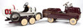 General Americana, ENAMELED METAL PEDAL CAR RACER AND TOW CAR. 20th century. 11 x 22.5x 43 inches (trailer). 20 x 18 x 41 inches (white racer)... (Total:3 Items)