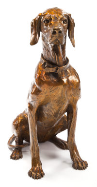 FOREST HART LIFE-SIZE BRONZE OF A SEATED DOG 1994 26 x 20-1/2 inches (66.0 x 52.1 cm)
