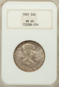Franklin Half Dollars: , 1957 50C MS65 NGC. NGC Census: (1690/604). PCGS Population(1736/779). Mintage: 5,100,000. Numismedia Wsl. Price for proble...