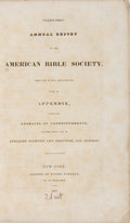 Books:Religion & Theology, [Religion]. Twenty-First Annual Report of the American Bible Society. Fanshaw, 1837. First edition, first printing. ...