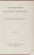 Books:Science & Technology, Charles Proteus Steinmetz. Four Lectures on Relativity and Space. McGraw-Hill, 1923. Third impression. Rubbing a...