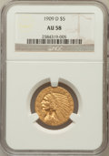 Indian Half Eagles: , 1909-D $5 AU58 NGC. NGC Census: (3142/26471). PCGS Population(2471/24974). Mintage: 3,423,560. Numismedia Wsl. Price for p...