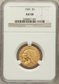 Indian Half Eagles: , 1909 $5 AU58 NGC. NGC Census: (845/5246). PCGS Population(636/3352). Mintage: 627,138. Numismedia Wsl. Price for problemf...