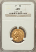 Indian Half Eagles: , 1911 $5 AU58 NGC. NGC Census: (1935/8035). PCGS Population(1194/4643). Mintage: 915,000. Numismedia Wsl. Price for problem...