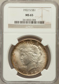 Peace Dollars: , 1922-S $1 MS65 NGC. NGC Census: (259/13). PCGS Population (286/7).Mintage: 17,475,000. Numismedia Wsl. Price for problem f...