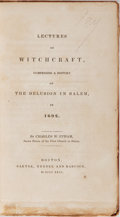 Books:Non-fiction, Charles W. Upham. AUTOGRAPH LETTER SIGNED LAID IN. Lectures onWitchcraft, Comprising a History of the Delusion in Salem...
