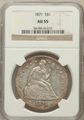 Seated Dollars: , 1871 $1 AU55 NGC. NGC Census: (60/219). PCGS Population (67/205).Mintage: 1,074,760. Numismedia Wsl. Price for problem fre...