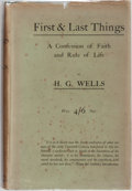Books:Biography & Memoir, H. G. Wells. First & Last Things. Constable, 1908. Firstedition, first printing. Mild rubbing and bumping to boards...