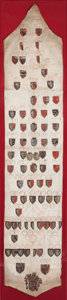 Paintings, GENEALOGY WITH COAT OF ARMS. 19th century. 107-1/2 x 29-1/2 inches (273.1 x 74.9 cm). The Elton M. Hyder, Jr. Charitable a...