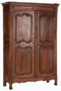 Furniture : French, A FRENCH PROVINCIAL CARVED OAK ARMOIRE . 19th century. 88 x 57 x 21inches (223.5 x 144.8 x 53.3 cm). ... (Total: 2 Items)