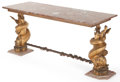 Furniture : Continental, A CONTINENTAL GILT IRON AND MARBLE FIGURAL CONSOLE TABLE . Circa1900. 31 x 63 x 24 inches (78.7 x 160.0 x 61.0 cm). ... (Total: 2Items)