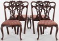 Furniture , A SET OF FOUR CHIPPENDALE-STYLE RIBBON BACK SIDE CHAIRS . England, circa 1900. 38-1/2 x 21-1/2 x 27 inches (97.8 x 54.6 x 68... (Total: 4 Items)