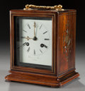 Decorative Arts, French:Other , A DIXON & SON ROSEWOOD, BRASS AND MOTHER-OF-PEARL CARRIAGECLOCK . Circa 1840. Marks to clock face: Dixon & Son, APARIS...