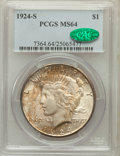 Peace Dollars, 1924-S $1 MS64 PCGS. CAC....