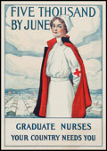 "Movie Posters:War, World War I Propaganda (Rand McNally & Co., 1917). Poster(19.5"" X 28""). ""Graduate Nurses Your Country Needs You"" War.. ..."
