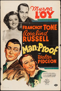"Man-Proof (MGM, 1938). One Sheet (27"" X 41"") Style D. Comedy"