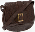 Luxury Accessories:Bags, Gucci Brown Ostrich Crossbody Small Flap Bag. ...