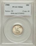 Barber Dimes: , 1908 10C MS66 PCGS. PCGS Population (20/1). NGC Census: (16/4).Mintage: 10,600,545. Numismedia Wsl. Price for problem free...