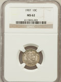 Barber Dimes: , 1907 10C MS62 NGC. NGC Census: (42/269). PCGS Population (72/279).Mintage: 22,220,576. Numismedia Wsl. Price for problem f...
