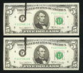 Error Notes:Ink Smears, Fr. 1971-F $5 1969B Federal Reserve Notes. Two ConsecutiveExamples. Gem Crisp Uncirculated.. ... (Total: 2 notes)