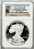 Modern Bullion Coins, 2012-S $1 One Ounce Silver Eagle Reverse PF San Francisco FirstReleases PR70 Ultra Cameo NGC. NGC Census: (0). PCGS Po...