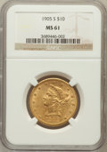 Liberty Eagles: , 1905-S $10 MS61 NGC. NGC Census: (82/31). PCGS Population (35/53).Mintage: 369,250. Numismedia Wsl. Price for problem free...
