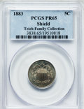Proof Shield Nickels: , 1883 5C PR65 PCGS. Ex: Teich Family Collection. PCGS Population(410/214). NGC Census: (356/268). Mintage: 5,419. Numismedi...
