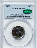 Proof Buffalo Nickels: , 1937 5C PR65+ PCGS. CAC. PCGS Population (623/1170). NGC Census:(394/836). Mintage: 5,769. Numismedia Wsl. Price for probl...
