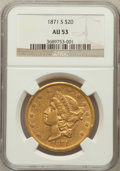 Liberty Double Eagles: , 1871-S $20 AU53 NGC. NGC Census: (191/880). PCGS Population(81/239). Mintage: 928,000. Numismedia Wsl. Price for problem f...