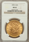 Liberty Double Eagles: , 1890-S $20 MS62 NGC. NGC Census: (369/85). PCGS Population(501/177). Mintage: 802,750. Numismedia Wsl. Price for problem f...