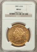 Liberty Double Eagles: , 1889-S $20 MS61 NGC. NGC Census: (654/636). PCGS Population(343/1060). Mintage: 774,700. Numismedia Wsl. Price for problem...