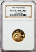 Modern Issues: , 1986-W G$5 Statue of Liberty Gold Five Dollar PR70 Ultra Cameo NGC.NGC Census: (3507). PCGS Population (606). Mintage: 404...