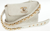 Chanel White Lambskin Leather Belt and Fannypack Bag with Gold Hardware