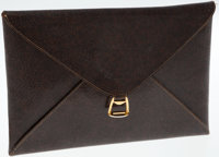 Gucci Brown Leather Envelope Clutch