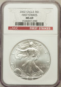 Modern Bullion Coins, 2002 $1 One Ounce Silver Eagle, First Strike MS69 NGC. PCGSPopulation (2377/9)....