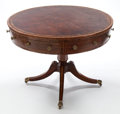 Furniture , A VICTORIAN ROSEWOOD AND SATIN WOOD DRUM TABLE WITH INSET LEATHER TOP . England, 19th century. 26 inches high x 39 inches di... (Total: 2 Items)