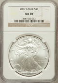 Modern Bullion Coins, 2007 $1 One Ounce Silver Eagle MS70 NGC. NGC Census: (5138). PCGSPopulation (532). Numismedia Wsl. Price for problem free...