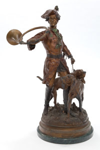 A COLD PAINTED METAL FIGURAL GROUP AFTER HIPPOLYTE FRANÇOIS MOREAU (French, 1832-1927): HUNTER WITH HOUNDS