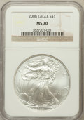 Modern Bullion Coins, 2008 $1 One Ounce Silver Eagle MS70 NGC. NGC Census: (4852). PCGSPopulation (1462). Numismedia Wsl. Price for problem fre...