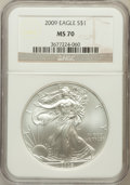 Modern Bullion Coins, 2009 $1 One Ounce Silver Eagle MS70 NGC. NGC Census: (4478). PCGS Population (20745). Numismedia Wsl. Price for problem fr...