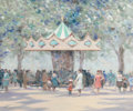 Fine Art - Painting, European, ANDRÉ GISSON (French/American, 1921-2003). Carousel ChampsElysees, circa 1980. Oil on canvas. 20 x 24 inches (50.8 x61...