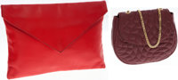 Set of Two; Maud Frizon Burgundy Leather Small Bag with Gold Chain Strap and Red Large Envelope Clutch