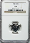 Proof Roosevelt Dimes: , 1954 10C PR69 NGC. NGC Census: (67/0). PCGS Population (1/0).Mintage: 233,300. Numismedia Wsl. Price for problem free NGC/...