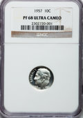 Proof Roosevelt Dimes: , 1957 10C PR68 Ultra Cameo NGC. NGC Census: (68/32). PCGS Population(49/3). Numismedia Wsl. Price for problem free NGC/PCG...