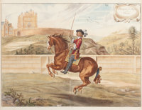 A SET OF FOUR FRAMED HAND COLORED ENGRAVINGS OF EQUESTRIAN SCENES BY NEWCASTLE Circa 1705 16 x 20-1/2 inches (