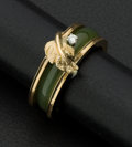 Estate Jewelry:Rings, Green Jade & Diamond Gold Ring. ...