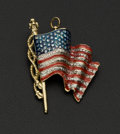 Estate Jewelry:Brooches - Pins, U.S. Diamond & Gold Pendant Flag. ...