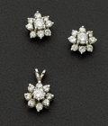 Estate Jewelry:Coin Jewelry and Suites, Estate Diamond & Gold Cluster Earrings & Pendant. ...